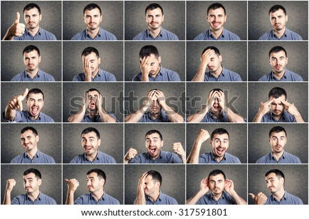 mosaic of young man expressing different emotions - stock photo