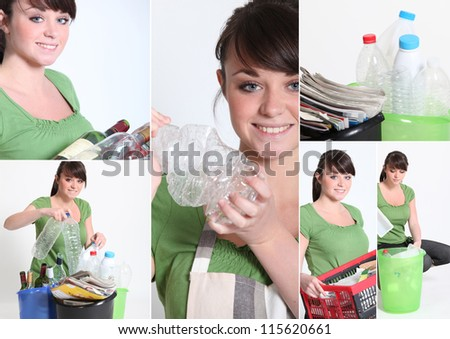 Mosaic of young woman recycling - stock photo