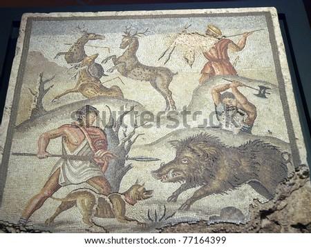 Mosaic panel with the Calydonian boar-hunt. From the Roman villa on Montevenere / 1st century B.C./ - stock photo