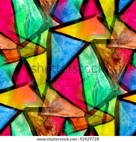 mosaic pattern of bright colorful watercolor seamless background - stock photo