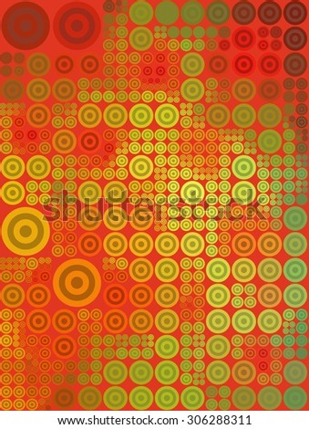 Mosaic pattern of concentric circles in green and red on a red background. - stock photo