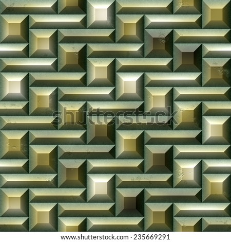 Mosaic seamless pattern of green and gold tiles - stock photo