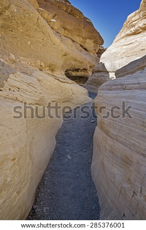 Mosaic Slot Canyon in Death Valley National Park - stock photo