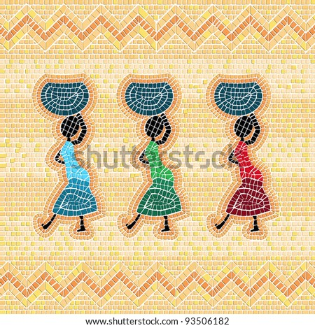 Mosaic style graphic of an african scene with women carrying food basket - stock photo