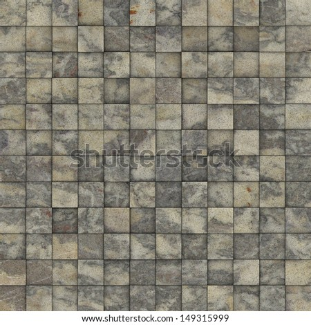 mosaic tile speckled marble beige gray wall floor - stock photo