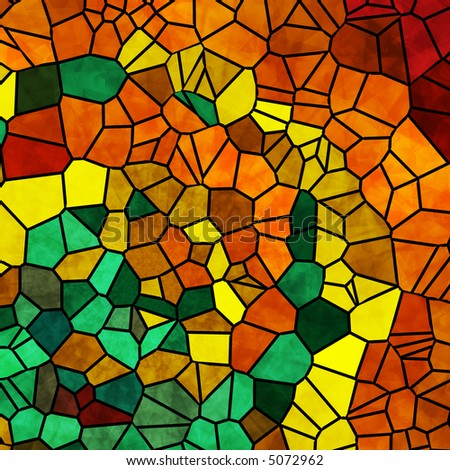 Mosaic tiles in harvest colors of orange, yellow and green.