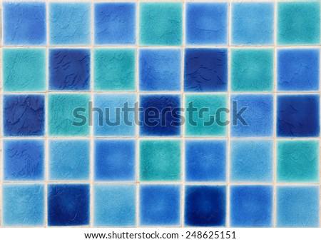 mosaic tiles of swimming pool water  - stock photo