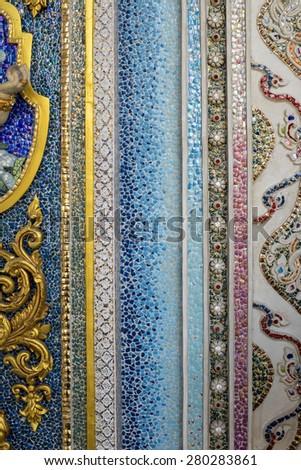 mosaic tiles texture thai - stock photo