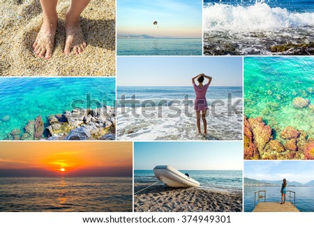 Mosaic travel collage of summer photos - stock photo