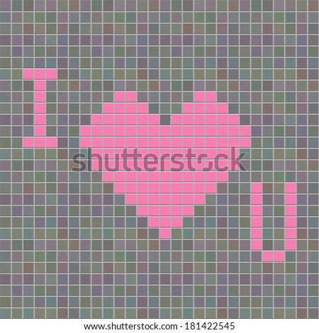 mosaic with i love you symbol  in tiling