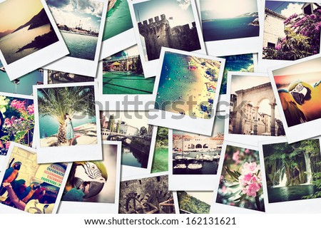 mosaic with pictures image of different places and landscapes, shoot by myself, snapshots uploaded to social networking services  - stock photo