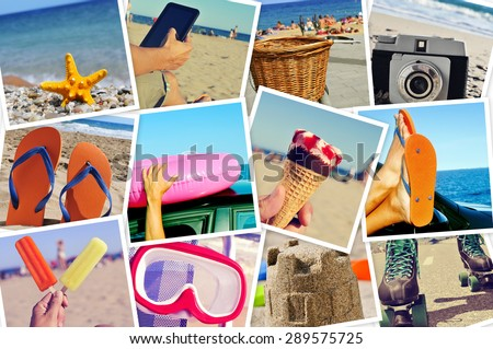 mosaic with summer pictures simulating a wall of snapshots uploaded to social networking services - stock photo