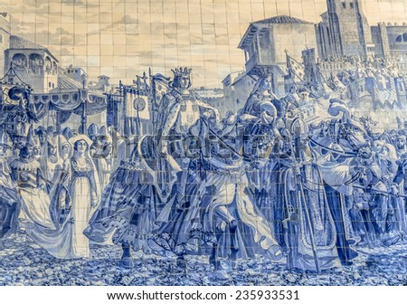 Mosaic with tiles in the Porto train station, Sao Bento. - stock photo