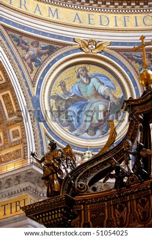 Mosaics and wooden sculpture inside St Peter Basilique, Vatican - stock photo