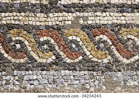 Mosaics of the roman villa of Pisoes near Beja, Alentejo, Portugal - stock photo