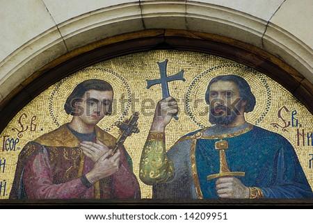 Mosaics on Alexander Nevsky Cathedral, Sofia, Bulgaria - stock photo