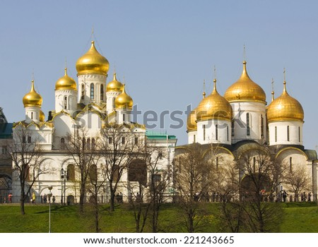 Moscow, Annunciation and Assumption cathedrals inside Kremlin fortress. - stock photo