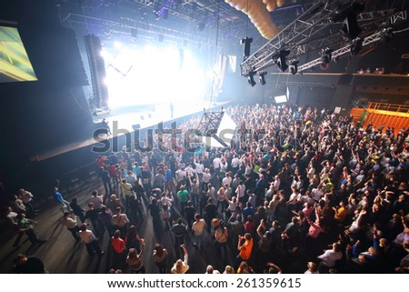 MOSCOW - APR 05, 2014: Huge crowd of people at the cult festival Trancemission in Stadium Live, top view  - stock photo