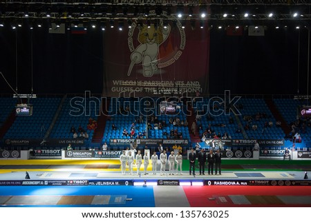 MOSCOW - APR 6: Presentation of competitors on championship of world in fencing among juniors and cadets, in Sports Olympic complex, on April 6, 2012 in Moscow, Russia - stock photo