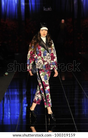MOSCOW - APRIL 6: A Model walks runway at the Kute for Fall/Winter 2012 presentation during Volvo Fashion Week on April 6, 2012 in Moscow, Russia