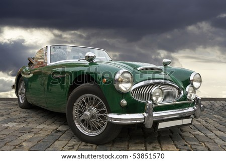 MOSCOW - APRIL 24: Austin-Healey 3000 MkII on red square,  Moscow Antique Car Rally. April 24, 2010 in Moscow, Russia. - stock photo
