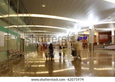 MOSCOW - APRIL 19: Big modern hall of new terminal of Airport Sheremetyevo on April 19, 2010 in Moscow, Russia. The maximum throughput of this terminal is 12 million passengers in a year. - stock photo