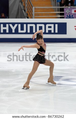"""MOSCOW - APRIL 30: Bingwa Geng competes in single ladies free figure skating at the 2011 World Championship on April 30, 2011 at the Palace of sports """"Megasports"""" in Moscow, Russia. - stock photo"""