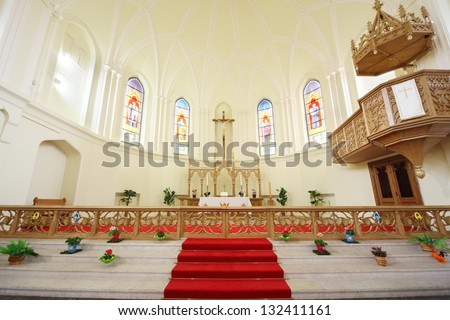 MOSCOW - APRIL 11: Crucifixion in Evangelical Lutheran Cathedral of Sts. Peter and Paul on April 11, 2012 in Moscow, Russia. During period from 2004 to 2008 were carried out extensive restoration work - stock photo