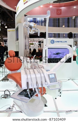 MOSCOW - APRIL 27: Dentist chair and tools at the international exhibition of the dental professionals and industry on April 27, 2011 in Moscow - stock photo