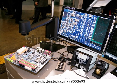 MOSCOW - APRIL 19: Digital Video Microscope at the international exhibition of  electronic industry ExpoElectronica, ElectronTechExpo, LEDTechExpo on April 19, 2011 in Moscow - stock photo