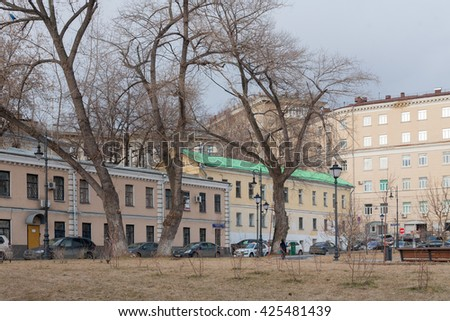 MOSCOW - APRIL 4: Houses and trees in Khitrovskaya Square on April 4, 2016 in Moscow. Khitrovskaya Square is located in the center of Moscow.