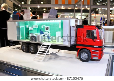MOSCOW - APRIL 27: Mobile dental complex at the international exhibition of the dental professionals and industry on April 27, 2011 in Moscow - stock photo
