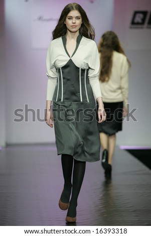 MOSCOW - APRIL 8: Model walks the runway during the Myagkova&Bardeeva Collection as part of Russian Fashion Week April 8, 2007 in Moscow, Russia.
