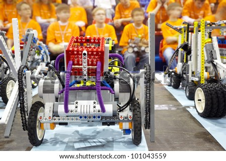 MOSCOW - APRIL 9: Participants and exhibits of the Third All-Russian robotic  festival, April 9, 2011, Moscow, Russia. Festival took place in the universal sports arena Aquarium in Crocus City. - stock photo