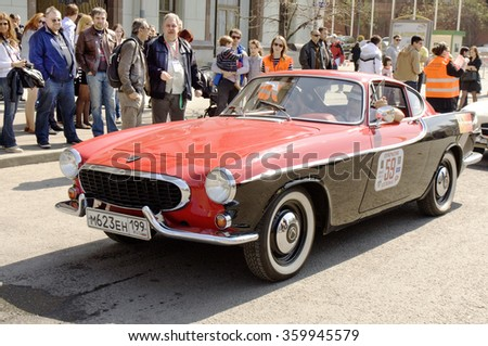 MOSCOW - APRIL 27, 2014: retro car volvo of 1967 year on rally of classical cars, organized by Russian Club of Classical Autocars on Theatre square.