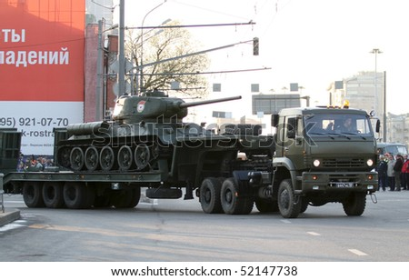 MOSCOW - APRIL 27: Russian army military vehicles in downtown, during a rehearsal for the Victory Day military parade which will take place at Moscow's Red Square, April 27, 2010 in Moscow, Russia.