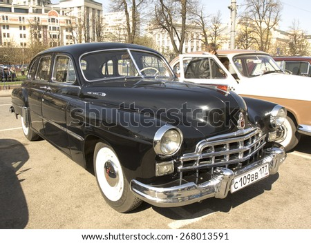 MOSCOW - APRIL 27, 2014: Russian retro car Volga GAZ on rally of classical cars, organized by Russian Club of Classical Autocars on Theatre square.