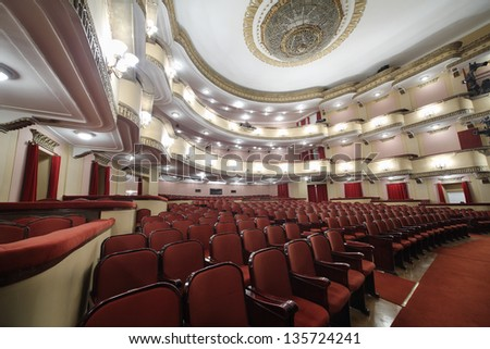MOSCOW - APRIL 23: Side view of lighting auditorium in Vakhtangov Theatre on April 23, 2012 in Moscow, Russia. Vakhtangov Theater is located in historical center of Moscow, on Old Arbat.