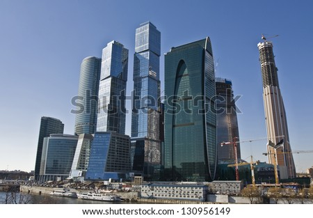 MOSCOW - APRIL 06: skyscrapers in business centre Moscow-city on Krasnopresnenskaya quay, built from 2004 till 2013 under construction, April 06, 2012, in town Moscow, Russia.