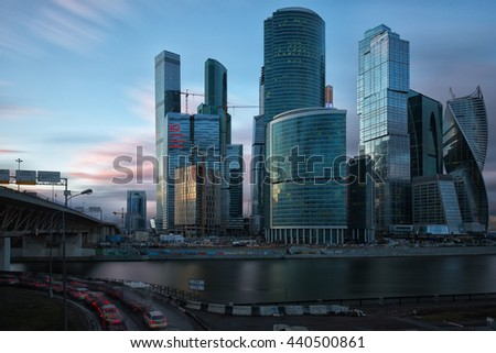 MOSCOW - APRIL 14, 2015: The Moscow International Business Center, Moscow-City . Located near the Third Ring Road, the Moscow-City area is currently under development