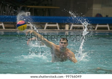 MOSCOW - APRIL 6: Unidentified player of Dynamo team just before a game Dynamo-CST Moscow  vs Sintez Kazan of waterpolo Championship of Russia on April 6, 2012 Moscow, Russia. Sintez won 11:10