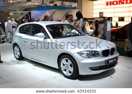 MOSCOW - AUG 26: BMW 116i at Moscow international motor show 2010 on August 26, 2010 in Moscow, Russia. - stock photo