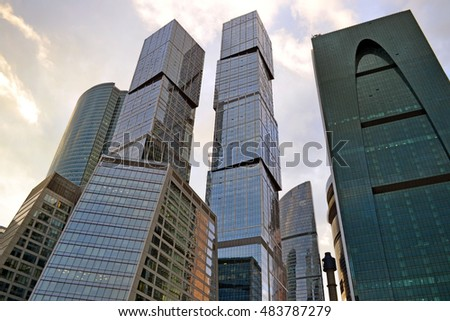 MOSCOW - AUG 30: View of modern high building in business district - Moscow City on August 30. 2016 in Russia