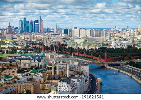 MOSCOW-  AUGUST 30, 2012:  Aerial Moscow city center heart panorama - stock photo