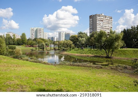MOSCOW - AUGUST 2: Chermyanka river in Heritage Village Park in Bibirevo district on August 2, 2013 in Moscow. Bibirevo is administrative district of North-Eastern part of Moscow, Russia. - stock photo