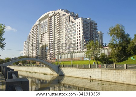 "MOSCOW - AUGUST 19, 2012: modern complex ""Arco di Sole"" on Rusakovskaya quay of Yausa river, has been built in 2009 year. - stock photo"