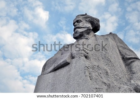 MOSCOW - AUGUST 22, 2017: Monument to Karl Marx in Moscow city center. Popular landmark. Color photo.