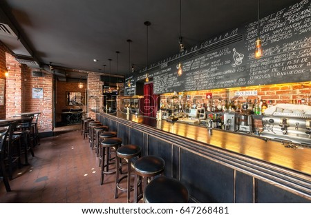 Moscow August 2014 Interior Wine Bar Stock Photo 647268481 ...