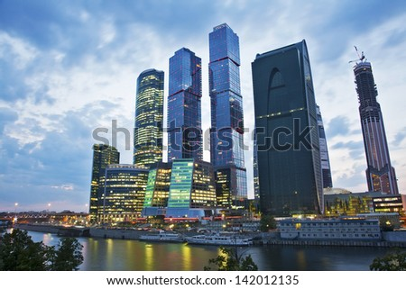MOSCOW - AUGUST 30: The Moscow International Business Center, Moscow-City on August 30, 2011 in Moscow. Located near the Third Ring Road, the Moscow-City area is currently under development. - stock photo