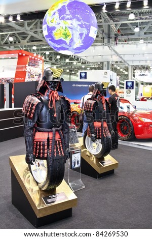 MOSCOW - AUGUST 25: Yokohama tire, samurai at the international exhibition of  the auto and components industry, Interauto on August 25, 2011 in Moscow - stock photo